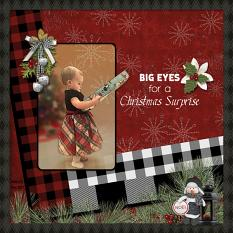 """Big Eyes for a Christmas Surprise"" digital scrapbooking layout using Yuletide Collection Biggie."