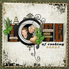 A Love of Cooking layout by Brandy Murry. See below for description and links to all products used in this digital scrapbooking layout.