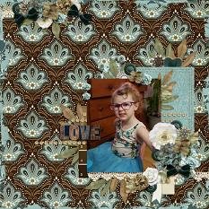 """""""Love"""" digital scrapbook layout by Andrea Hutton"""