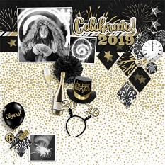 """Celebrate 2019"" digital scrapbook layout by Darryl Beers"