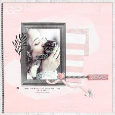 """Love"" digital scrapbook layout by Geraldine Touitou"