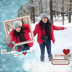 """Let it Snow"" digital scrapbook layout by Andrea Hutton"