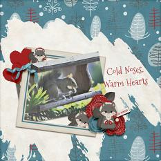 """Cold Noses, Warm Hearts"" digital scrapbook layout by Debby Leonard"