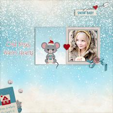"""""""Cold Noses, Warm Hearts"""" digital scrapbook layout by Geraldine Touitou"""