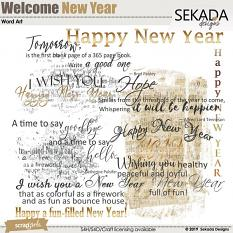 Welcome New Year Word Art
