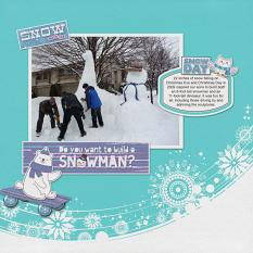 """Do You Want to Build a Snowman?"" digital scrapbook layout by Sue Maravelas"