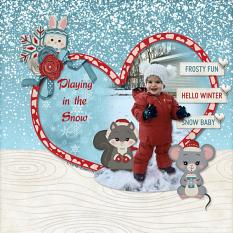 """""""Playing in the Snow"""" digital scrapbook layout by Sue Maravelas"""