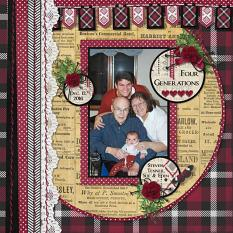 """Four Generations"" digital scrapbook layout by Sue Maravelas"