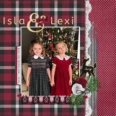 """Isla & Lexi"" digital scrapbook layout by Andrea Hutton"