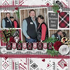 """P&K Christmas Party"" digital scrapbook layout by Vikki Lamar"
