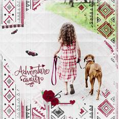 """Adventure Awaits"" digital scrapbook layout by Geraldine Touitou"