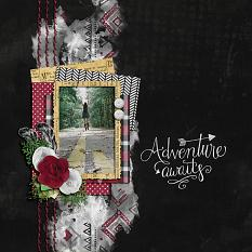 """Adventure Awaits"" digital scrapbook layout by Shauna Trueblood"