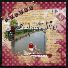 """Adventure"" digital scrapbook layout by Debby Leonard"