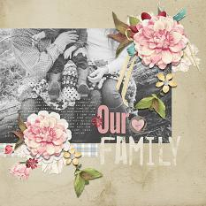Family layout using Love Notes Paper Mini - Pattern