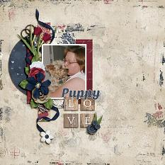 """Puppy Love"" digital scrapbooking layout using Loving You Collection Mini."