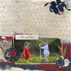 """Me and You"" digital scrapbooking layout using Loving You Collection Mini."
