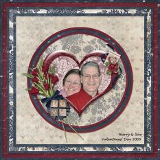 """Valentines 2009"" digital scrapbooking layout using Loving You Collection Mini."