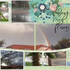 """April Showers"" digital scrapbook layout showcases ScrapSimple Digital Layout Album Templates: Scrap It Monthly 5 Series 1"
