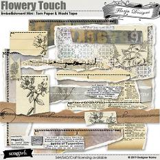 Flowery Touch Embellishments Mini : Torn Papers by Florju Designs
