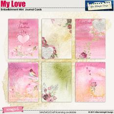 My Love Embellishment Mini Journal Cards by Aftermidnight Design