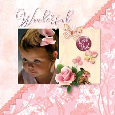 """Wonderful"" digital scrapbook layout by Darryl Beers"