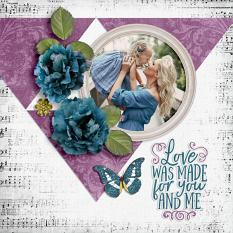 """Love wasMade for You and Me"" digital scrapbook layout by Darryl Beers"