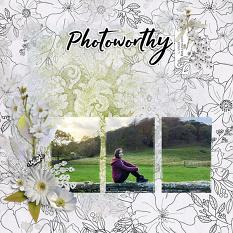 """Photoworthy"" digital scrapbook layout by Andrea Hutton"