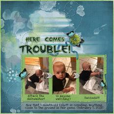 """Here Comes Trouble"" digital scrapbook layout by Sue Maravelas"