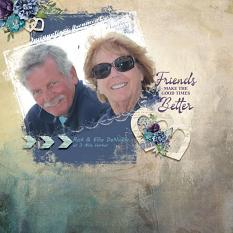 """Friends Make Good Times Better"" digital scrapbook layout by Debby Leonard"