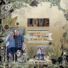 """Love"" digital scrapbook layout by Amy Flanagan"