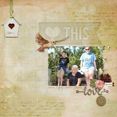 """Heart This"" digital scrapbook layout by Debby Leonard"