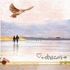 """Dream"" digital scrapbook layout by Geraldine Touitou"