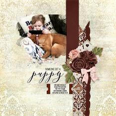 """""""Someone Got a Puppy"""" digital scrapbook layout by Andrea Hutton"""