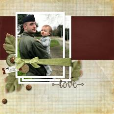 """Love"" digital scrapbook layout by Teresa Burton"