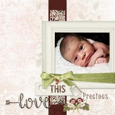"""Love"" digital scrapbook layout by Marie Hoorne"