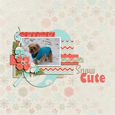 """Snow-Cute"" digital scrapbook layout by Shauna Trueblood"