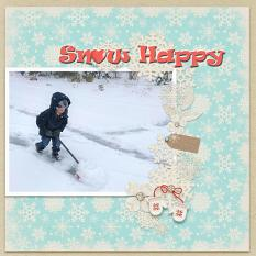 """Snow Happy"" digital scrapbook layout by Debby Leonard"