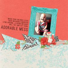 """Adorable Mess"" digital scrapbook layout by Andrea Hutton"