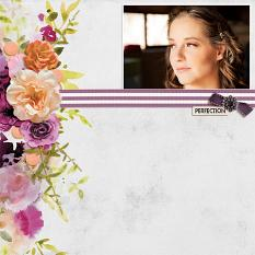 """""""Perfection"""" digital scrapbook layout by Andrea Hutton"""