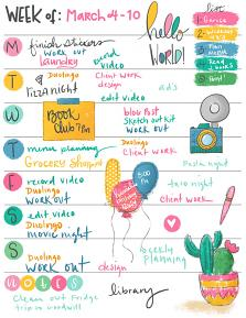 Planner page created with Hello World Illustrations and templates