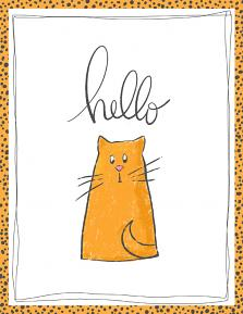 Printable card created with Hello World Illustrations and templates