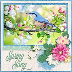 Spring Song digital scrapbook layout by Laura Louie
