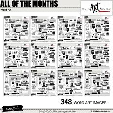 All of the Months Word Art Bundle