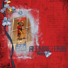 """Ringling Brothers"" digital scrapbooking layout using Scrap Simple:  Grunge Effect"