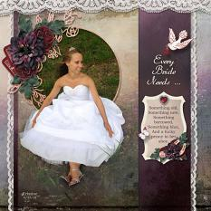 """Every Bride Needs..."" digial scrapbook layout by Sue Maravelas"