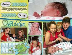 """Newborn Adelyn"" digital scrapbook layout features ScrapSimple Digital Layout Album Templates: 8.5x22 Scrap It Monthly 5 Series"