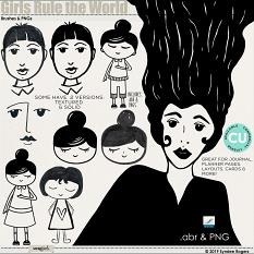 Girls Rule the World brushes and clip art