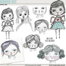Whimsy Girls hand-painted brushes and images