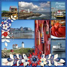 """Memories of Maine"" digital scrapbook layout by Laura Louie"
