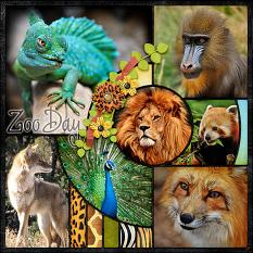 """Zoo Day"" digital scrapbook layout by Laura Louie"